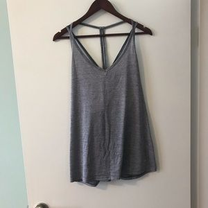 Gray striped strappy dry fit workout tank top